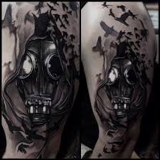 gasmask black and gray by mike demasi tattoos
