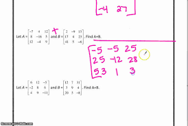 a2 matrices worksheet add and subtract youtube