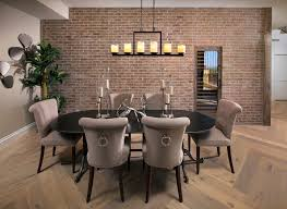 Dining Room Candle Chandelier Brick Accent Walls Dining Room Transitional With Wood Dining