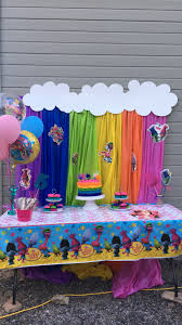britts trolls birthday party wall decoration pinterest