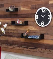buy black mango wood wall shelf set of 3 by home sparkle