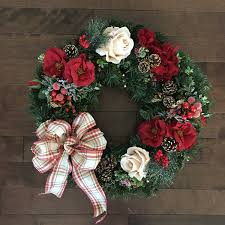 christmas wreaths with bow holiday door wreath christmas