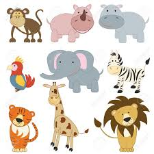cartoon african animals set on white background royalty free