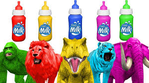 learn colors with milk bottles animals colors for children kids