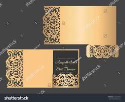 tri fold invitation template tri fold pocket envelope laser cut stock vector 732261925
