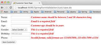 tutorial java spring hibernate spring validation exle spring mvc form validator journaldev