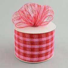 deco mesh ribbon 4 poly deco mesh ribbon metallic pink plaid 25 yards