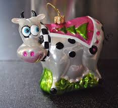 dressed farm animal santa cow glass blown ornament robe