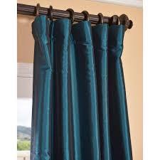 Teal Taffeta Curtains Mediterranean 96 X 50 Inch Blackout Faux Silk Taffeta Curtain
