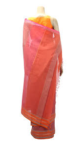 arong saree pink and orange printed cotton saree