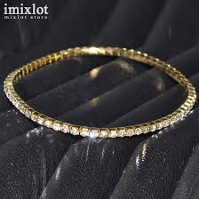 bracelet crystal tennis images One row clear crystal tennis silver gold stretch anklet foot chain jpg