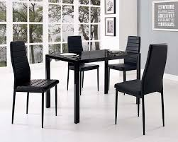 Glass Dining Table Set And With  Black Faux Leather Chairs - Black glass dining room sets