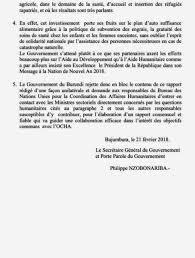 bureau de la coordination des affaires humanitaires burundi communique du gouvernement a la suite du rapport du