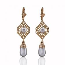 filigree earrings gold filigree pearl drop earrings vintage wedding jewelry for brides
