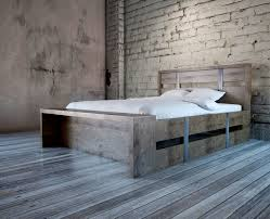 handmade steel belt bed with build in bench by indistressed