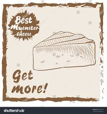 hand drawn piece muenster cheese sketch stock vector 593279195