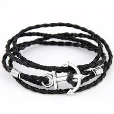 black man bracelet images Retro fashion anchor bracelet multi layer leather black man han jpg