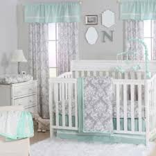 Grey And Green Crib Bedding Grey Damask And Mint Green Baby Crib Bedding By The Peanut Shell