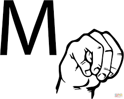 asl sign language letter m coloring page free printable coloring