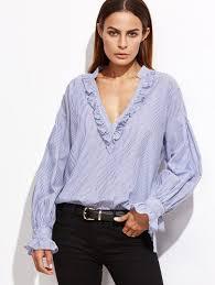 beautiful blouses blue vertical striped v neck ruffle blouse shirts jackets