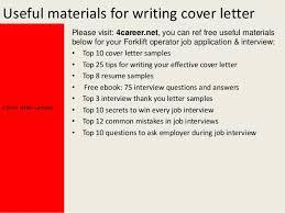 Sample Resume For Forklift Driver by Forklift Operator Cover Letter