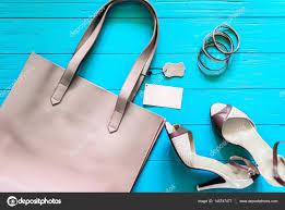 Fashion Stuff Female Flat Lay Fashion Stuff Gray Handbag With Empty Label And