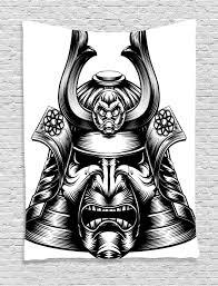 japanese decor tapestry wall hanging samurai mask home decor ebay