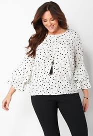 plus size blouse s polka dot ruffle plus size blouse from christopher