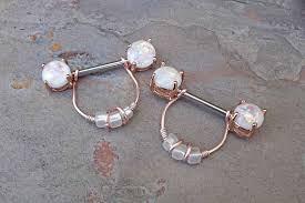 gold nipple rings images Opal glitter rose gold nipple ring nipple piercing jpg