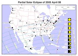 Usa And Mexico Map by Partial Solar Eclipse April 8 2005