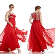plus size long red evening dress for fat women a line see through