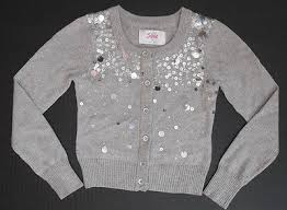 silver cardigan sweater nwt justice sleeve silver sequin sparkly cardigan