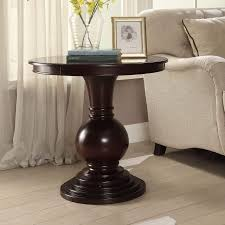 accent tables contemporary copper grove angelina brown wood and veneer round contemporary