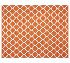 Reversible Rugs Becca Tile Reversible Indoor Outdoor Rug Orange Pottery Barn