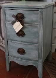 three drawer dixie nightstand with original hardware painted blue