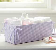 Changing Table Accessories Lavender Gingham Changing Table Storage Pottery Barn
