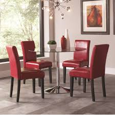 coaster 103000 101786 round glass top dining table with red chairs