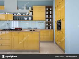 modern kitchen design yellow yellow modern kitchen interior design illustration 202285476