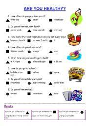 worksheet are you healthy