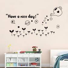Bedroom Wall Letter Stickers Have A Nice Day Wall Quote Decor Sticker Black Flowers Sweet Home