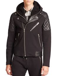 the kooples sport mixed media hooded moto jacket in black for men
