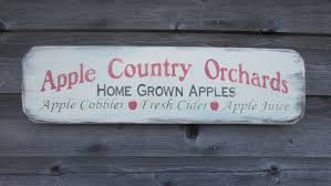 primitive country decor apple sign rustic primitive apple