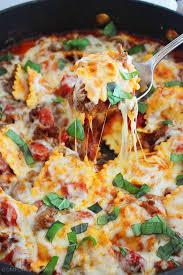 Cooking Italian Comfort Food Cheesy Ravioli And Italian Sausage Skillet