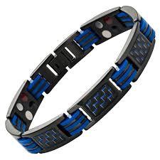 black titanium bracelet images Mens four element magnetic blue carbon fibre black titanium jpg