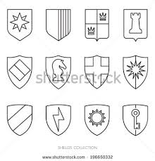 easy outlines simple shields badges design outlines logo stock vector 196650332