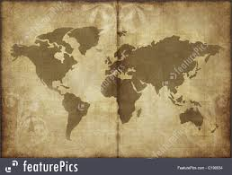 Old World Map Signs And Info Old World Map Parchment Paper Stock Image