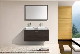 Gray Oak Double Sink Wall Mount Modern Bathroom Vanity W - Bathroom vanity for vessel sink 2