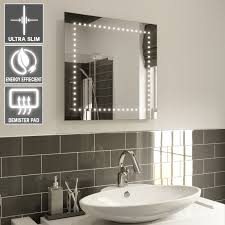 illuminated demister bathroom mirrors abby square single dots 60 x 60cm