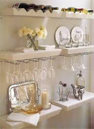 home bar decor with open shelving and glass rack home bar decor
