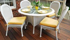 white wicker kitchen table small backyard deck with wood flooring also white rattan dining set